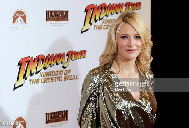 Cate Blanchett attends the Australian premiere of 'Indiana Jones and the Kingdom of the Crystal Skull' at the Greater Union George Street cinemas on...