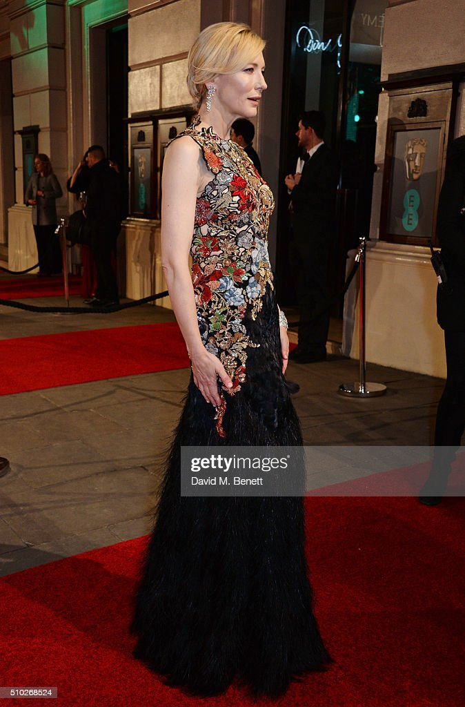 <a gi-track='captionPersonalityLinkClicked' href=/galleries/search?phrase=Cate+Blanchett&family=editorial&specificpeople=201621 ng-click='$event.stopPropagation()'>Cate Blanchett</a> attends the EE British Academy Film Awards at The Royal Opera House on February 14, 2016 in London, England.
