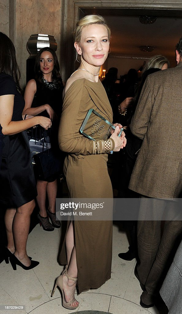 <a gi-track='captionPersonalityLinkClicked' href=/galleries/search?phrase=Cate+Blanchett&family=editorial&specificpeople=201621 ng-click='$event.stopPropagation()'>Cate Blanchett</a> attends the Harper's Bazaar Women of the Year awards at Claridge's Hotel on November 5, 2013 in London, England.