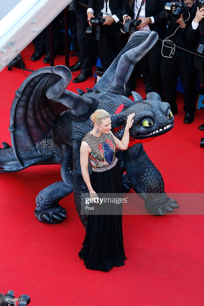 <a gi-track='captionPersonalityLinkClicked' href=/galleries/search?phrase=Cate+Blanchett&family=editorial&specificpeople=201621 ng-click='$event.stopPropagation()'>Cate Blanchett</a> attends the 'How To Train Your Dragon 2' premiere during the 67th Annual Cannes Film Festival on May 16, 2014 in Cannes, France.