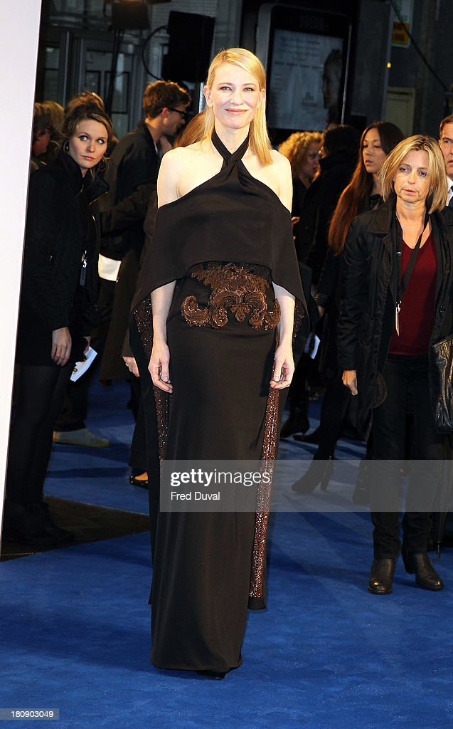 <a gi-track='captionPersonalityLinkClicked' href=/galleries/search?phrase=Cate+Blanchett&family=editorial&specificpeople=201621 ng-click='$event.stopPropagation()'>Cate Blanchett</a> attends the premiere of 'Blue Jasmine' at Odeon West End on September 17, 2013 in London, England.
