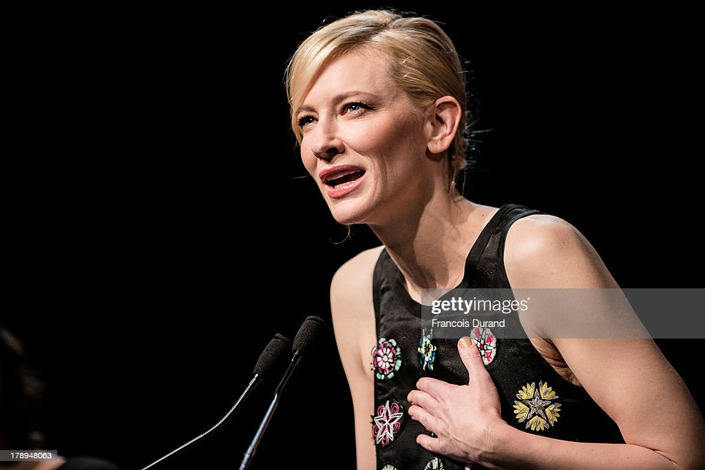 <a gi-track='captionPersonalityLinkClicked' href=/galleries/search?phrase=Cate+Blanchett&family=editorial&specificpeople=201621 ng-click='$event.stopPropagation()'>Cate Blanchett</a> attends the premiere of the movie 'Blue Jasmine' during the 39th Deauville American film festival on August 31, 2013 in Deauville, France.