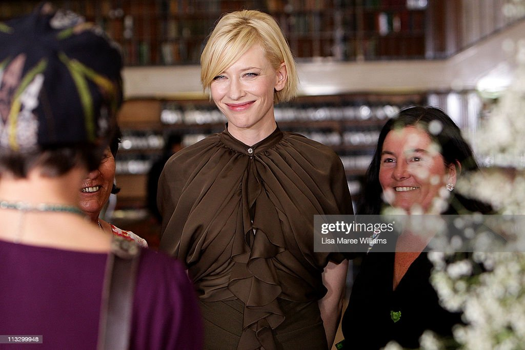 <a gi-track='captionPersonalityLinkClicked' href=/galleries/search?phrase=Cate+Blanchett&family=editorial&specificpeople=201621 ng-click='$event.stopPropagation()'>Cate Blanchett</a> attends the Romance Was Born Spring/Summer 2011/12 collection launch at the State Library Of New South Wales on May 1, 2011 in Sydney, Australia.