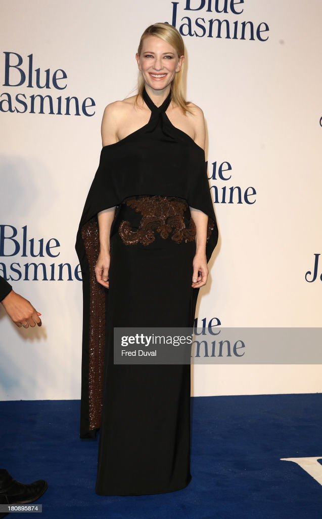 <a gi-track='captionPersonalityLinkClicked' href=/galleries/search?phrase=Cate+Blanchett&family=editorial&specificpeople=201621 ng-click='$event.stopPropagation()'>Cate Blanchett</a> attends the UK premiere of 'Blue Jasmine' at Odeon West End on September 17, 2013 in London, England.
