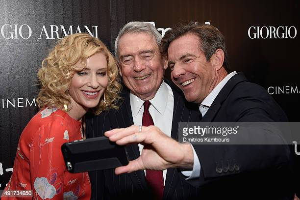 Cate Blanchett Dan Rather and Dennis Quaid attend the Giorgio Armani and Cinema Society screening of Sony Pictures Classics' 'Truth' at Museum of...