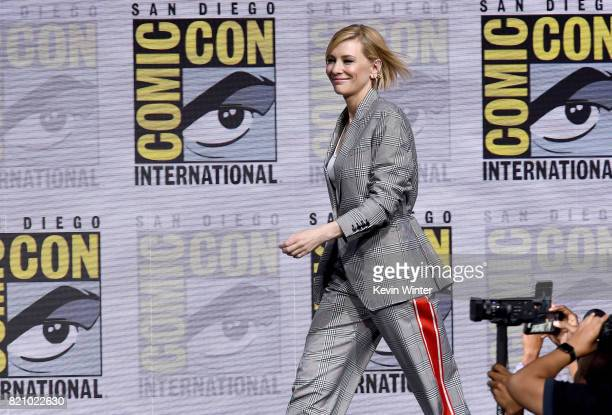 Cate Blanchett from 'Thor Ragnarok' attends the Marvel Studios Presentation during ComicCon International 2017 at San Diego Convention Center on July...