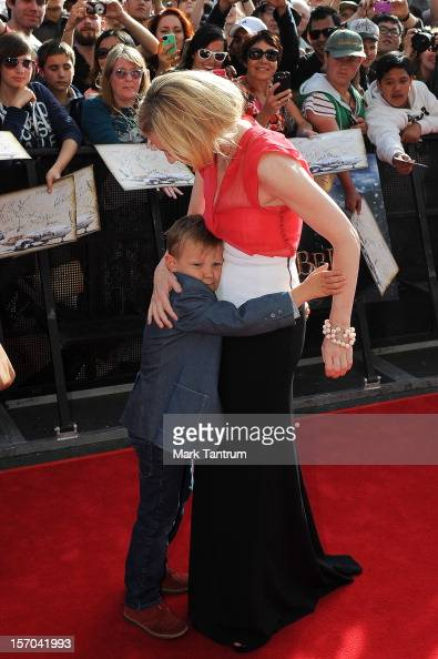 Cate Blanchett gets a hug from her son at the 'The Hobbit An Unexpected Journey' world premiere at Taranaki Street entrance to the red carpet on...
