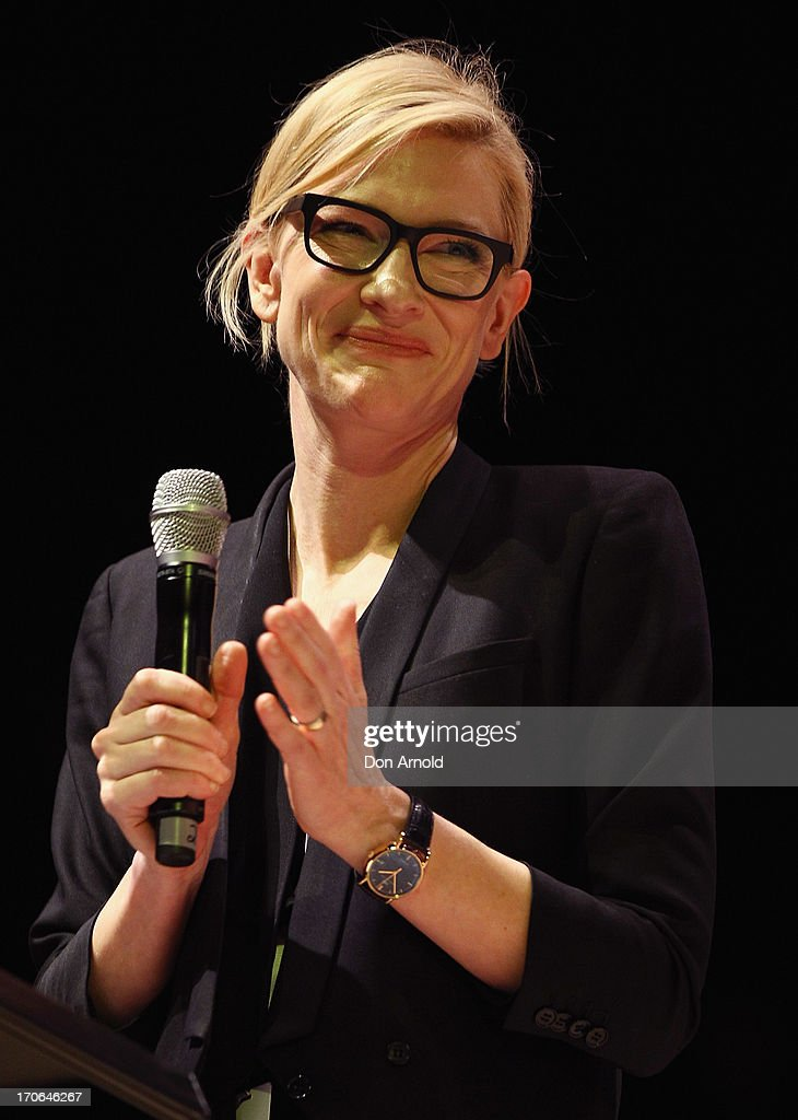 <a gi-track='captionPersonalityLinkClicked' href=/galleries/search?phrase=Cate+Blanchett&family=editorial&specificpeople=201621 ng-click='$event.stopPropagation()'>Cate Blanchett</a> introduces His Holiness the Dalai Lama during a public talk at Sydney Entertainment Centre on June 16, 2013 in Sydney, Australia. The Dalai Lama is in Australia for ten days, holding ticketed events for the public.