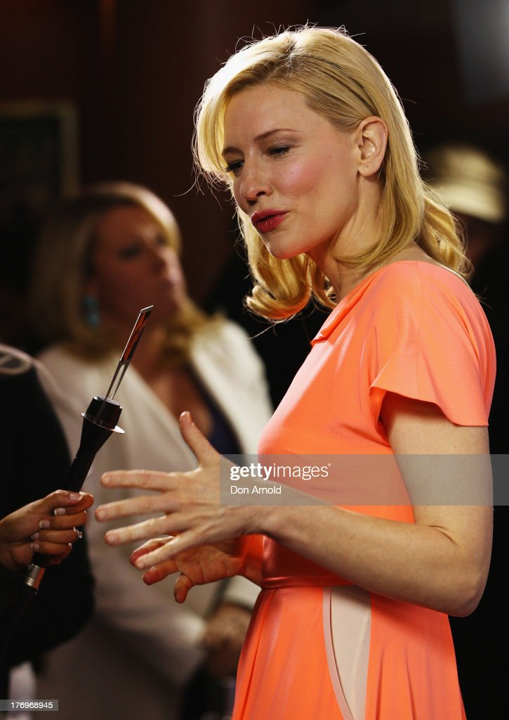 <a gi-track='captionPersonalityLinkClicked' href=/galleries/search?phrase=Cate+Blanchett&family=editorial&specificpeople=201621 ng-click='$event.stopPropagation()'>Cate Blanchett</a> is interviewed at the 'Blue Jasmine' Australian premiere at the Hayden Cremorne Orpheum on August 20, 2013 in Sydney, Australia.