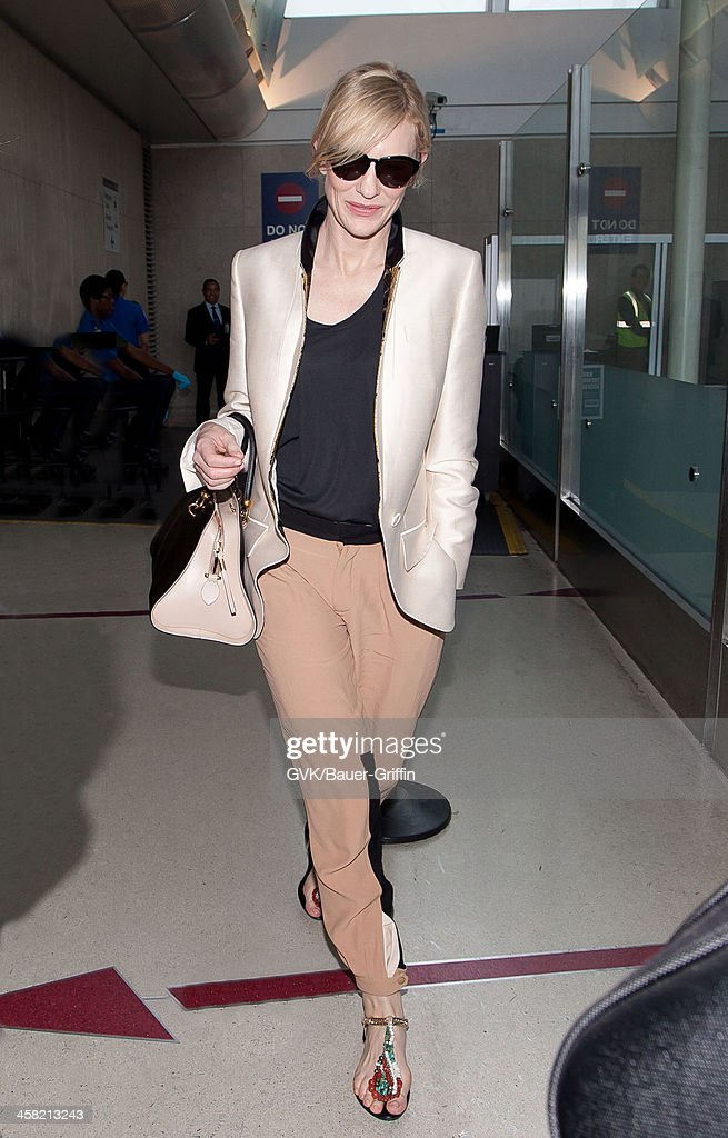 Cate Blanchett is seen at Los Angeles International Airport on July 24, 2013 in Los Angeles, California.