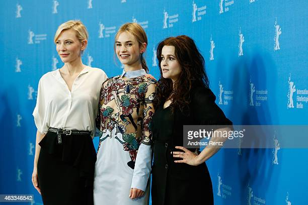 Cate Blanchett Lily James and Helena Bonham Carter attend the 'Cinderella' photocall during the 65th Berlinale International Film Festival at Grand...