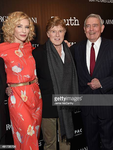 Cate Blanchett Robert Redford and Dan Rather attend the Giorgio Armani and Cinema Society screening of Sony Pictures Classics' 'Truth' at Museum of...