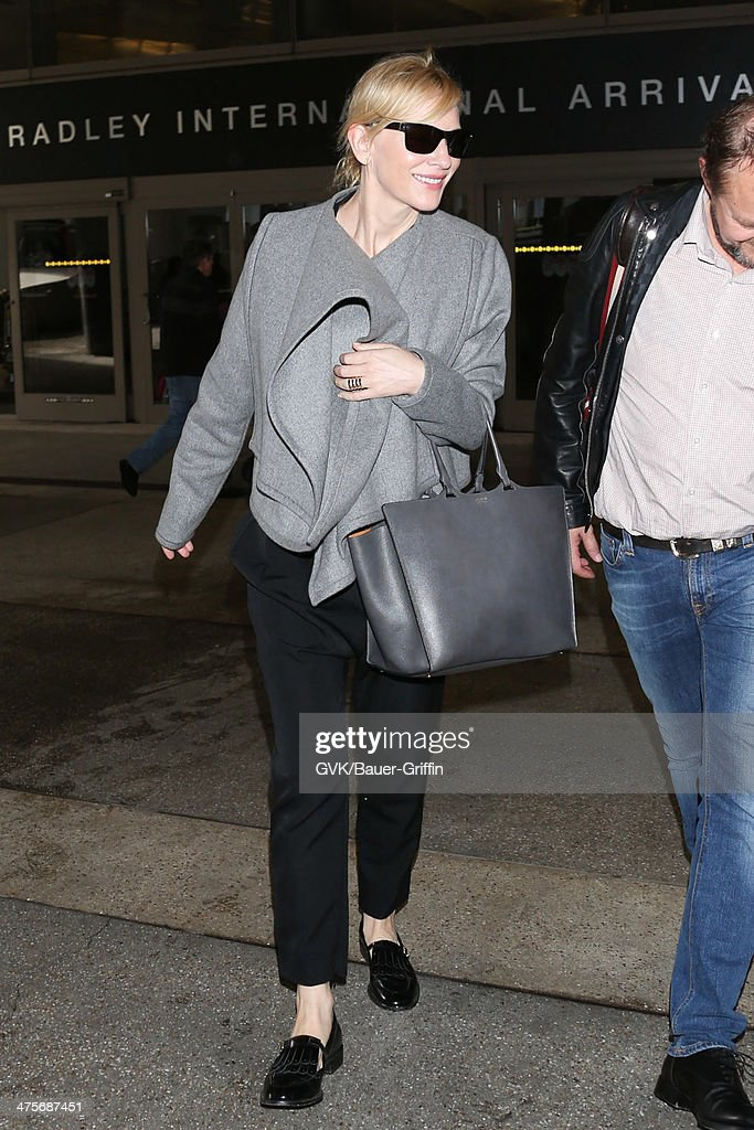 Cate Blanchett seen at LAX airport on February 28, 2014 in Los Angeles, California.