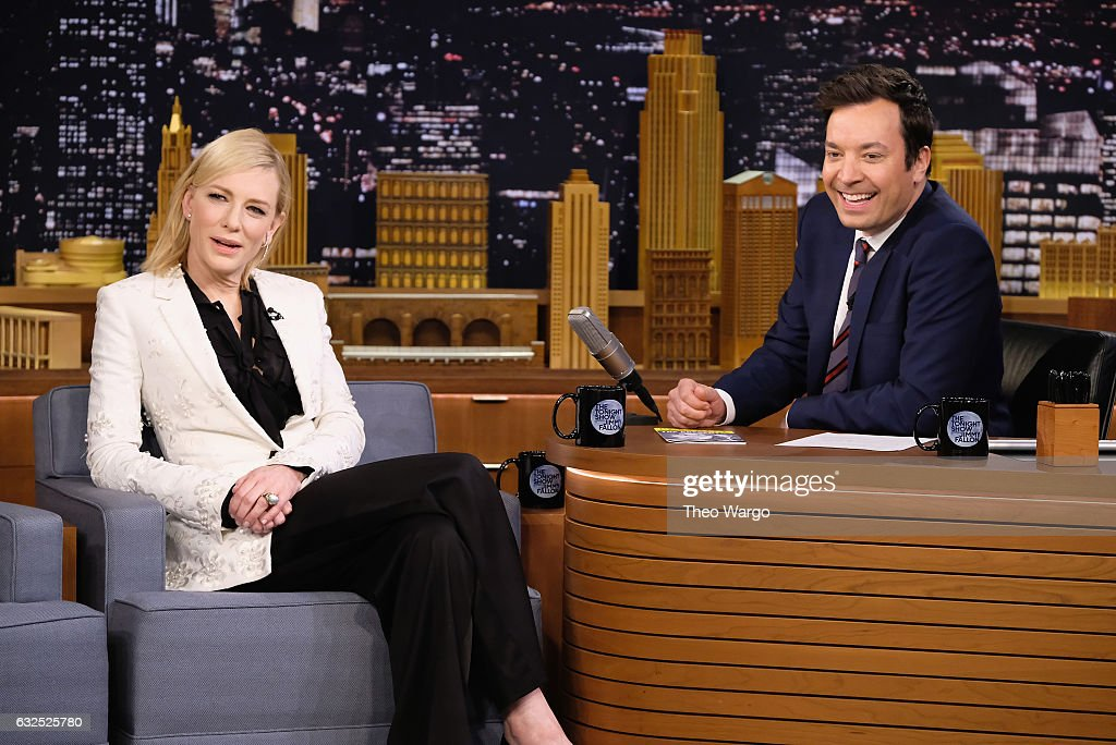 Cate Blanchett Visits 'The Tonight Show Starring Jimmy Fallon' at Rockefeller Center on January 23, 2017 in New York City.