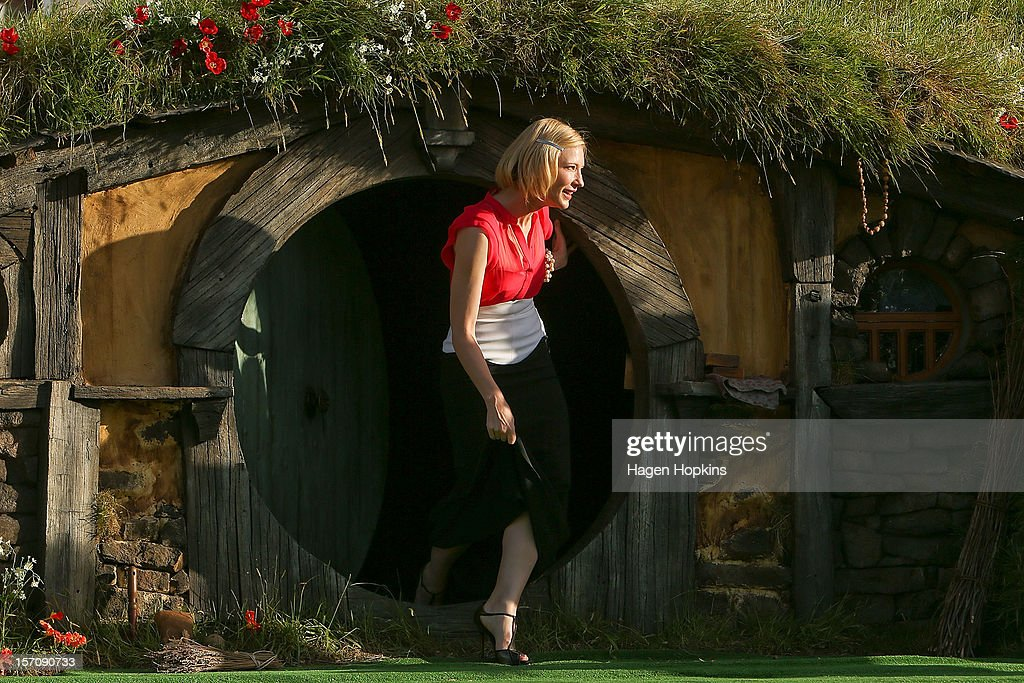 <a gi-track='captionPersonalityLinkClicked' href=/galleries/search?phrase=Cate+Blanchett&family=editorial&specificpeople=201621 ng-click='$event.stopPropagation()'>Cate Blanchett</a>, who plays Galadriel, emerges from from a Hobbit house before delivering a speech at the 'The Hobbit: An Unexpected Journey' World Premiere at Embassy Theatre on November 28, 2012 in Wellington, New Zealand.