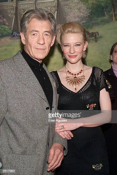 Cate Blanchett winner Best Supporting Actress Award with 'Lord Of The Rings' costar Sir Ian McKellen at the 2001 National Board Of Review Awards Gala...