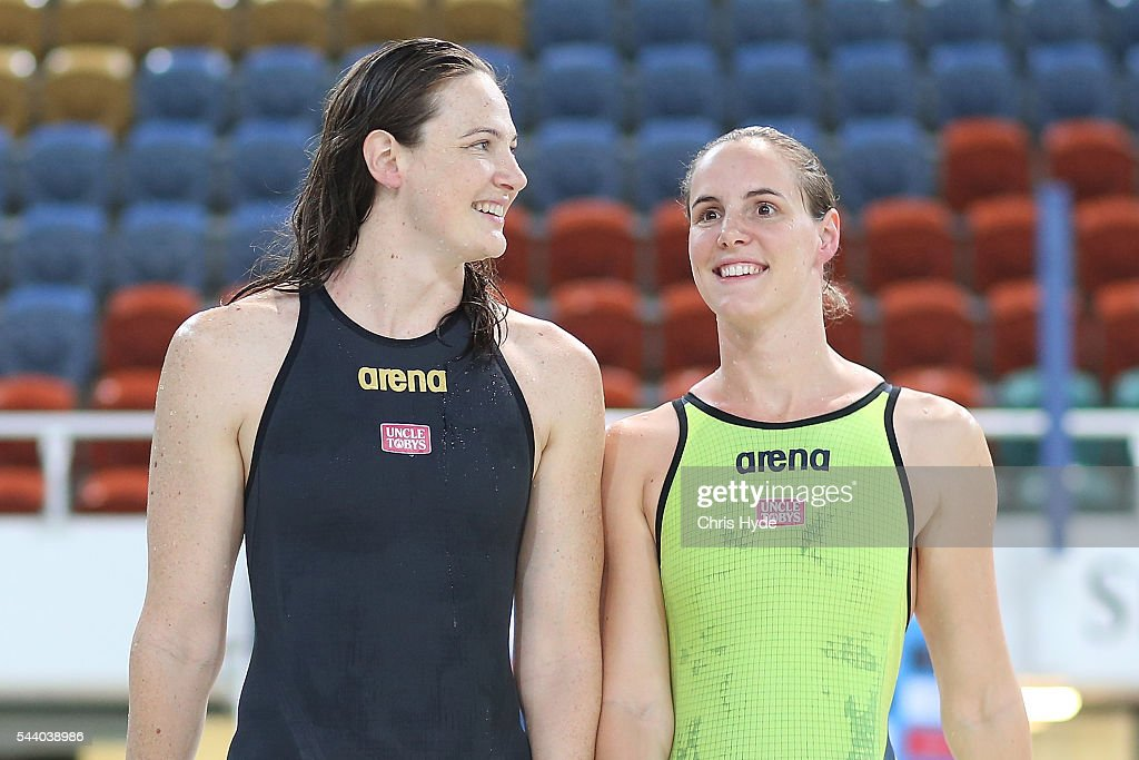 Cate Campbell and Bronte Capbell after finishing first and second place in the 50 Metre Freestyle during the 2016 Australian Swimming Grand Prix at the Chandler Sports Centre on July 1, 2016 in Brisbane, Australia.