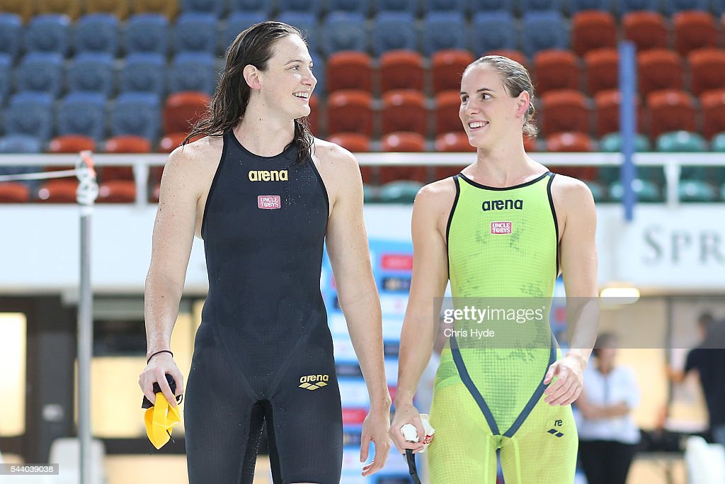 <a gi-track='captionPersonalityLinkClicked' href=/galleries/search?phrase=Cate+Campbell+-+Swimmer&family=editorial&specificpeople=4115465 ng-click='$event.stopPropagation()'>Cate Campbell</a> and Bronte Capbell after finishing first and second place in the 50 Metre Freestyle during the 2016 Australian Swimming Grand Prix at the Chandler Sports Centre on July 1, 2016 in Brisbane, Australia.