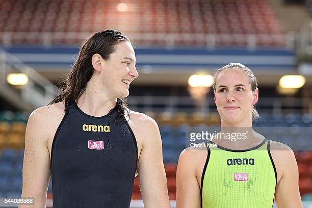 Cate Campbell and Bronte Capbell after finsihing first and second place in the 50 Metre Freestyle during the 2016 Australian Swimming Grand Prix at...