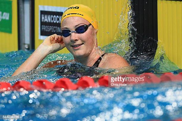 Cate Campbell celebrates winning the 50 Metre Freestyle during the 2016 Australian Swimming Grand Prix at the Chandler Sports Centre on July 1 2016...