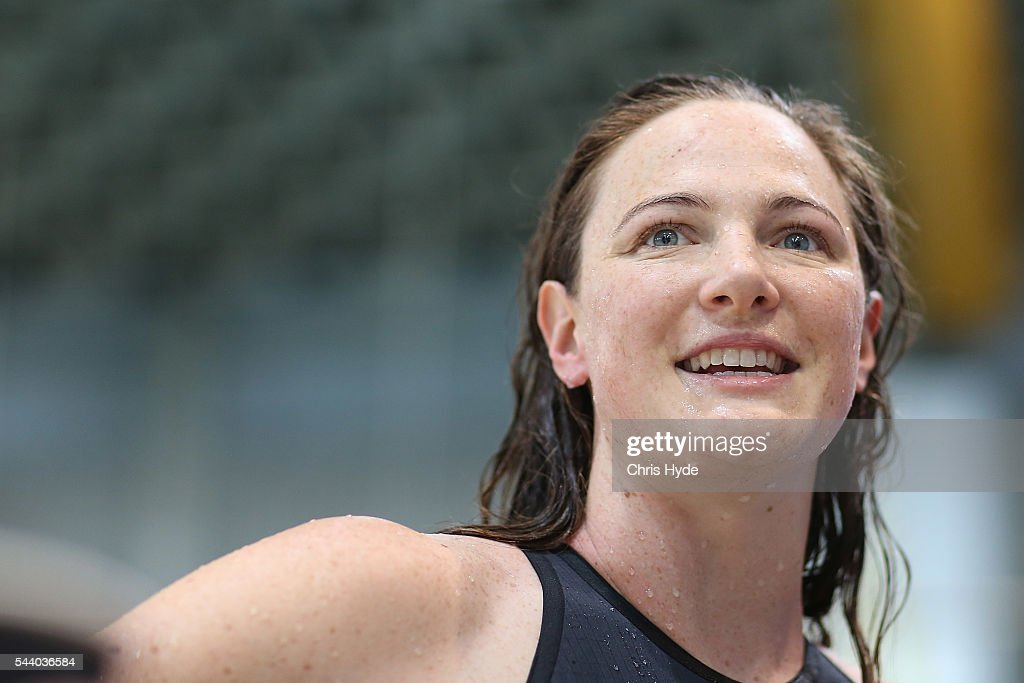 <a gi-track='captionPersonalityLinkClicked' href=/galleries/search?phrase=Cate+Campbell+-+Swimmer&family=editorial&specificpeople=4115465 ng-click='$event.stopPropagation()'>Cate Campbell</a> celebrates winning the 50 Metre Freestyle during the 2016 Australian Swimming Grand Prix at the Chandler Sports Centre on July 1, 2016 in Brisbane, Australia.