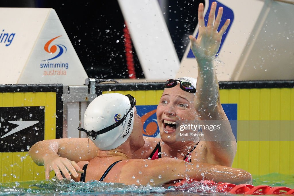 Cate Campbell celebrates winning the final of the Womens 100 metre Freestyle event during the 2014 Australian Swimming Championships at Brisbane Aquatic Centre on April 5, 2014 in Brisbane, Australia.
