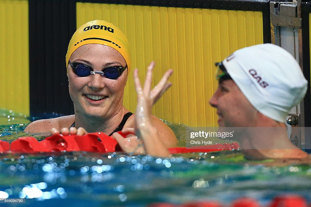 <a gi-track='captionPersonalityLinkClicked' href=/galleries/search?phrase=Cate+Campbell+-+Swimmer&family=editorial&specificpeople=4115465 ng-click='$event.stopPropagation()'>Cate Campbell</a> celebrates winning while <a gi-track='captionPersonalityLinkClicked' href=/galleries/search?phrase=Bronte+Campbell+-+Swimmer&family=editorial&specificpeople=7631918 ng-click='$event.stopPropagation()'>Bronte Campbell</a> celebrates second place in the 50 Metre Freestyle during the 2016 Australian Swimming Grand Prix at the Chandler Sports Centre on July 1, 2016 in Brisbane, Australia.