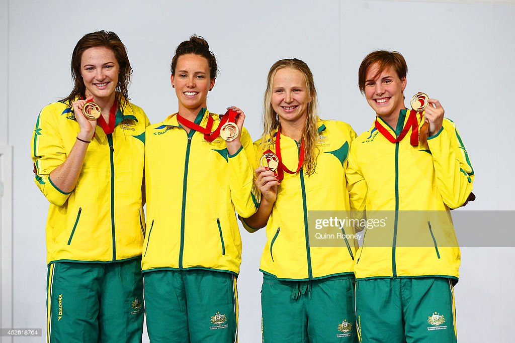 Cate Campbell Emma McKeon Melanie Schlanger and Bronte Campbell of Australia celebrate winning the gold medal during the medal ceremony for the...
