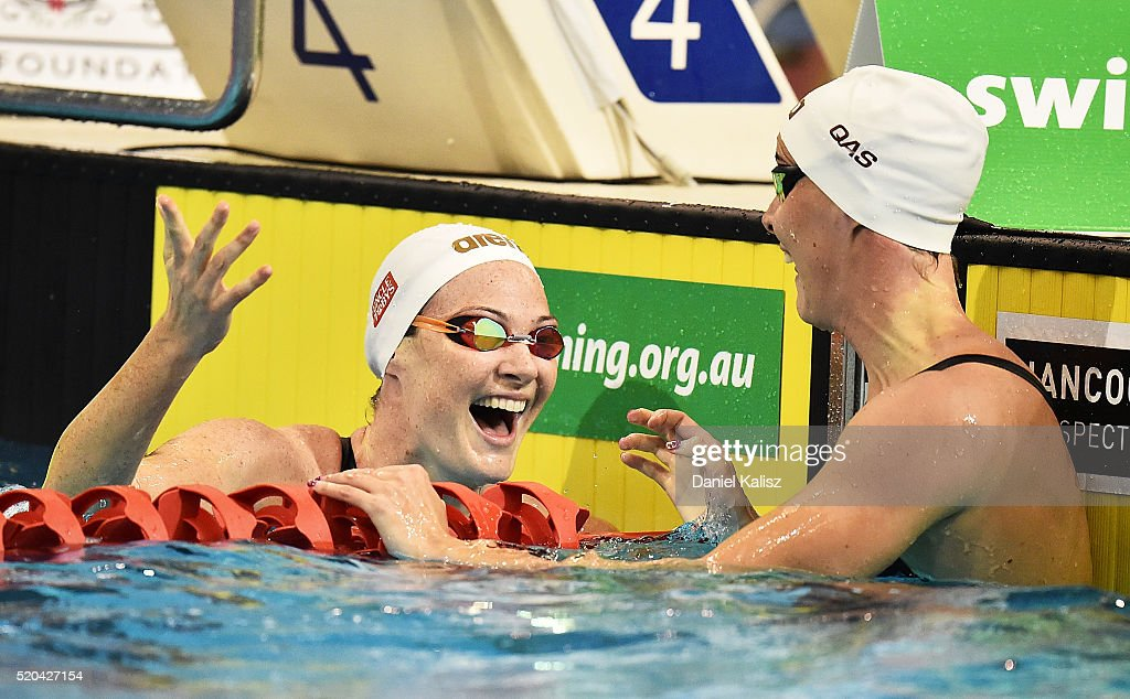 <a gi-track='captionPersonalityLinkClicked' href=/galleries/search?phrase=Cate+Campbell+-+Swimmer&family=editorial&specificpeople=4115465 ng-click='$event.stopPropagation()'>Cate Campbell</a> of Australia and <a gi-track='captionPersonalityLinkClicked' href=/galleries/search?phrase=Bronte+Campbell+-+Swimmer&family=editorial&specificpeople=7631918 ng-click='$event.stopPropagation()'>Bronte Campbell</a> of Australia react after the Women's 100 metre Freestyle during day five of the Australian Swimming Championships at the South Australian Aquatic & Leisure Centre on April 11, 2016 in Adelaide, Australia.