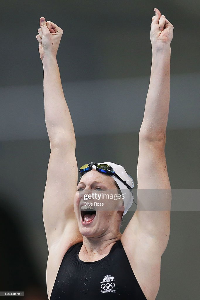 Cate Campbell of Australia celebrates after her relay team won the Final of the Women's 4x100m Freestyle Relay on Day 1 of the London 2012 Olympic Games at the Aquatics Centre on July 28, 2012 in London, England.