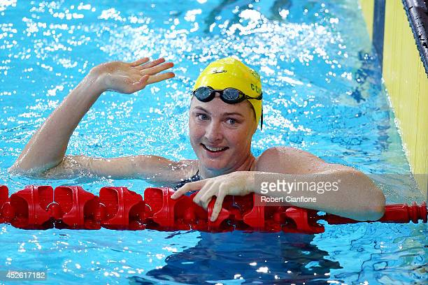 Cate Campbell of Australia celebrates winning the gold medal in the Women's 4 x 100m Freestyle Relay Final in a world record time at Tollcross...
