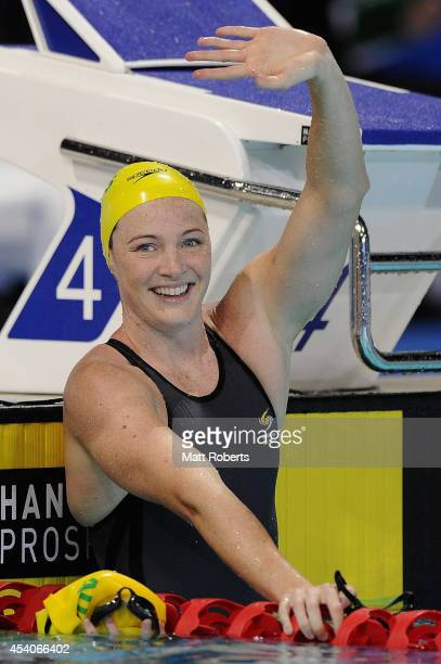 Cate Campbell of Australia celebrates winning the Women's 50m Freestyle Final during day four of the 2014 Pan Pacific Championships at Gold Coast...