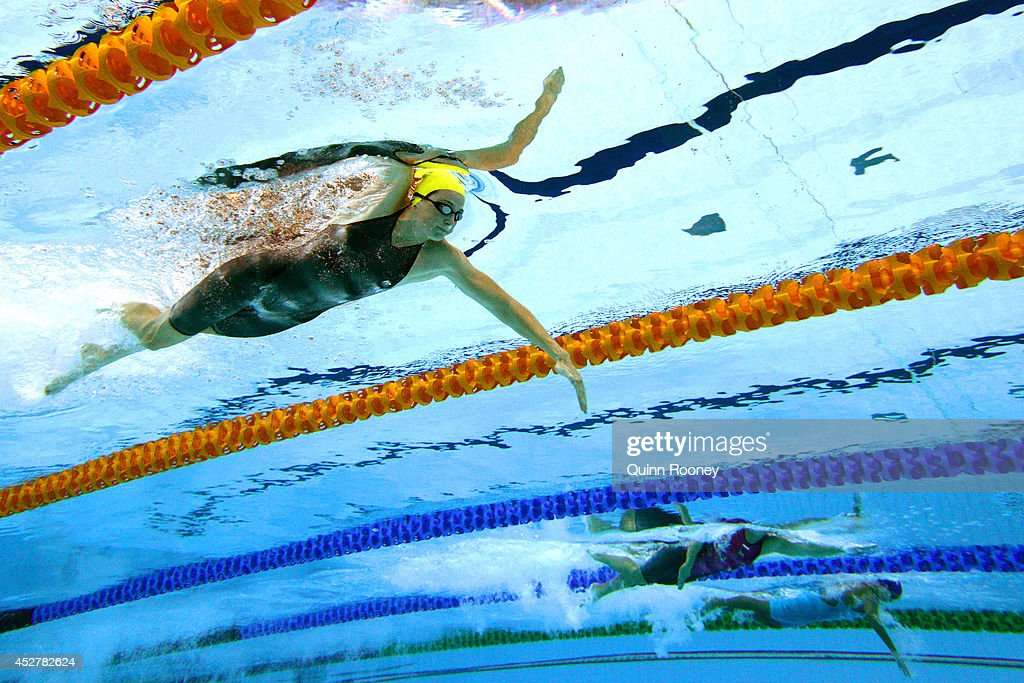 Cate Campbell of Australia competes in the Women's 100m Freestyle heat 3 at Tollcross International Swimming Centre during day four of the Glasgow...
