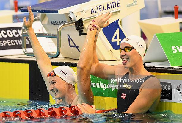 Cate Campbell of Australia is congratulated by Bronte Campbell after winning the Women's 50 Metre Freestyle during the 2016 Australian Swimming...