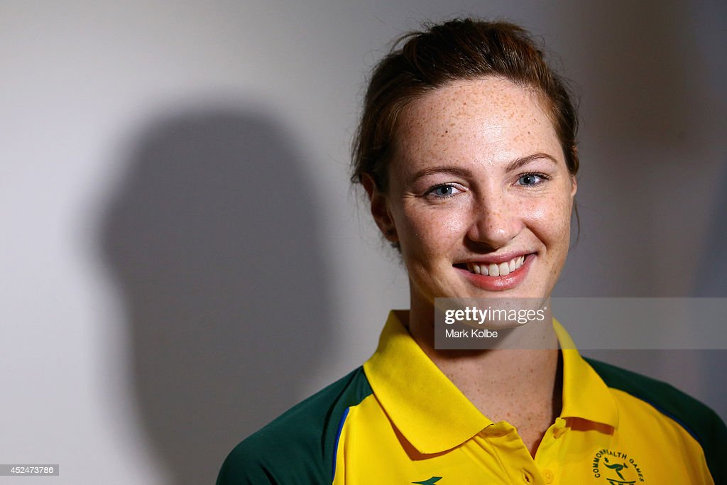 Cate Campbell of Australia poses after speaking to the media at an Australian swim team press conference at the Main Press Centre on July 21 2014 in...