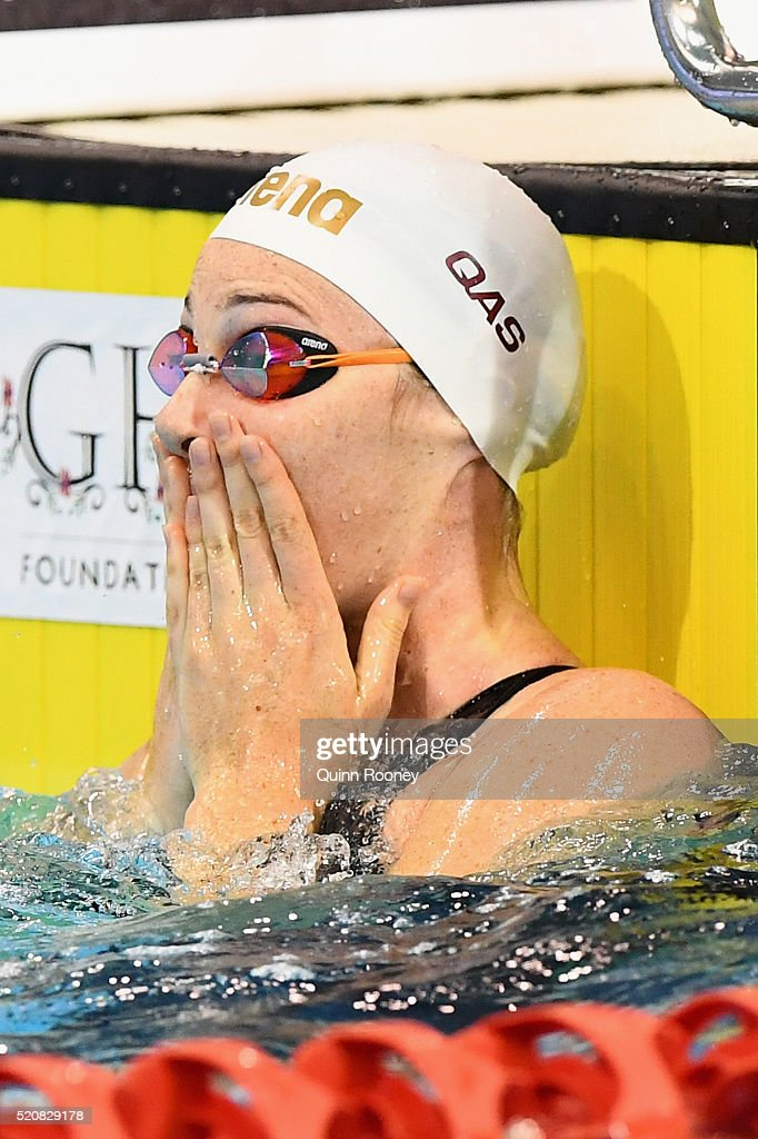 <a gi-track='captionPersonalityLinkClicked' href=/galleries/search?phrase=Cate+Campbell+-+Swimmer&family=editorial&specificpeople=4115465 ng-click='$event.stopPropagation()'>Cate Campbell</a> of Australia reacts after competing in the Women's 50 Metre Freestyle during day seven of the 2016 Australian Swimming Championships at the South Australia Leisure & Aquatic Centre on April 13, 2016 in Adelaide, Australia.
