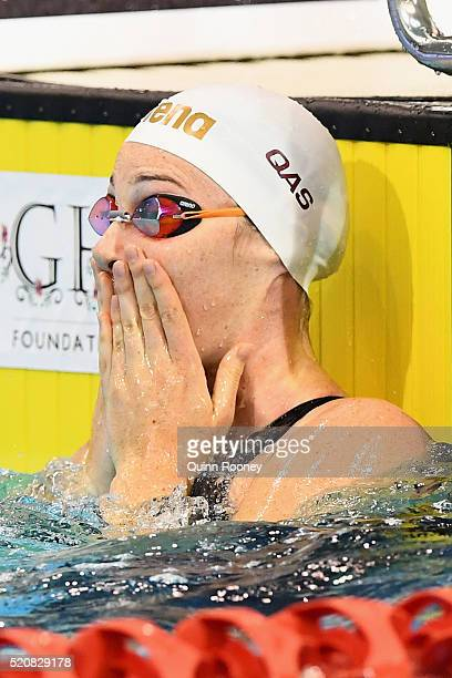 Cate Campbell of Australia reacts after competing in the Women's 50 Metre Freestyle during day seven of the 2016 Australian Swimming Championships at...