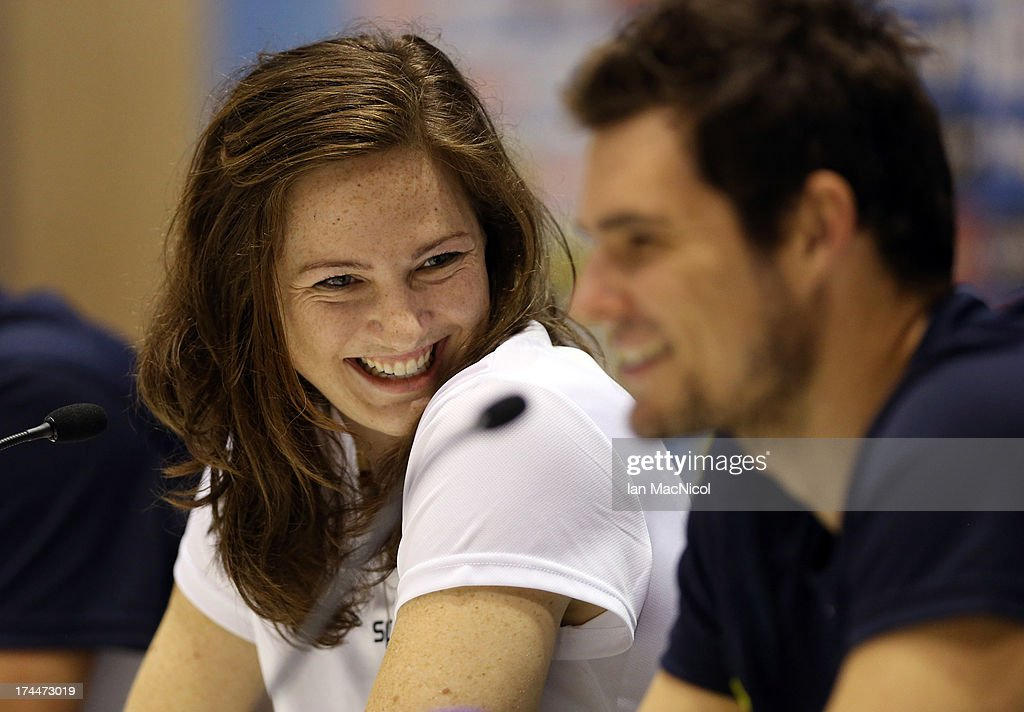 <a gi-track='captionPersonalityLinkClicked' href=/galleries/search?phrase=Cate+Campbell&family=editorial&specificpeople=4115465 ng-click='$event.stopPropagation()'>Cate Campbell</a> of Australia Swim Team talks during the official Team Australia Press Conference at the MPC at Palau Sant Jordi on day seven of the 15th FINA World Championships on July 26, 2013 in Barcelona, Spain.