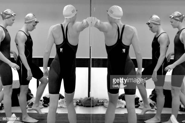 Cate Campbell of QLD stetches against the mirror in teh marhsalling room before the 50m Freestyle Heats during the 2017 Australian Swimming...