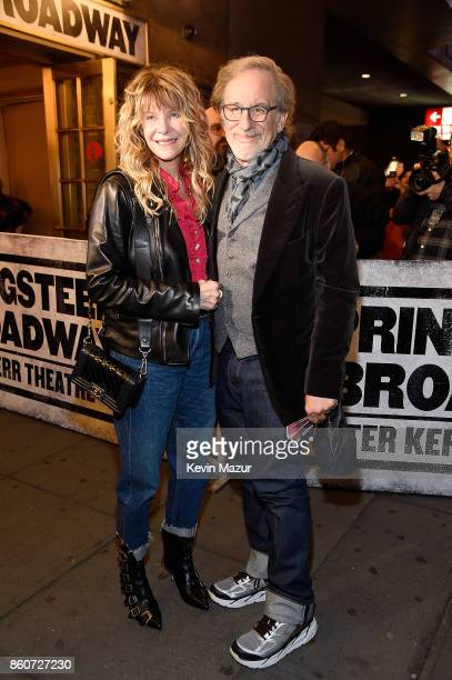 Cate Capshaw and Steven Spielberg attend 'Springsteen On Broadway' at Walter Kerr Theatre on October 12 2017 in New York City