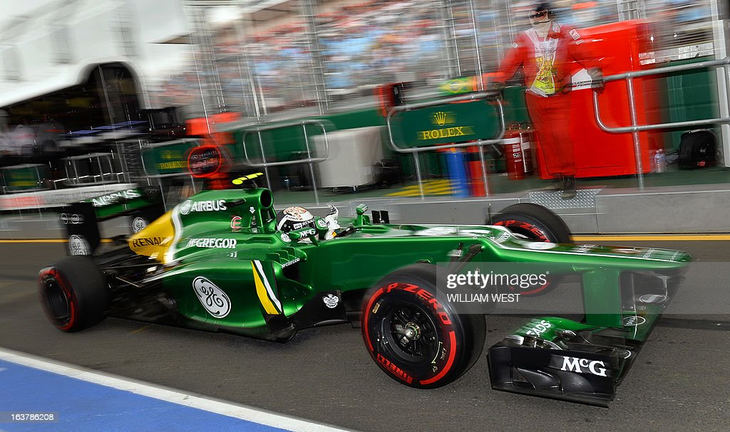 Caterham driver Giedo Van Der Garde of the Netherlands speeds out of the pits during the third practice session for the Formula One Australian Grand Prix in Melbourne on March 16, 2013. AFP PHOTO/William WEST IMAGE