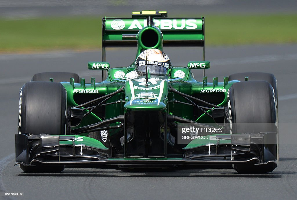 Caterham driver Giedo Van Der Garde of the Netherlands takes a bend during the first practice session at the Formula One Australian Grand Prix in Melbourne on March 15, 2013. IMAGE STRICTLY RESTRICTED TO EDITORIAL USE - STRICTLY NO COMMERCIAL USE AFP PHOTO / Greg WOOD