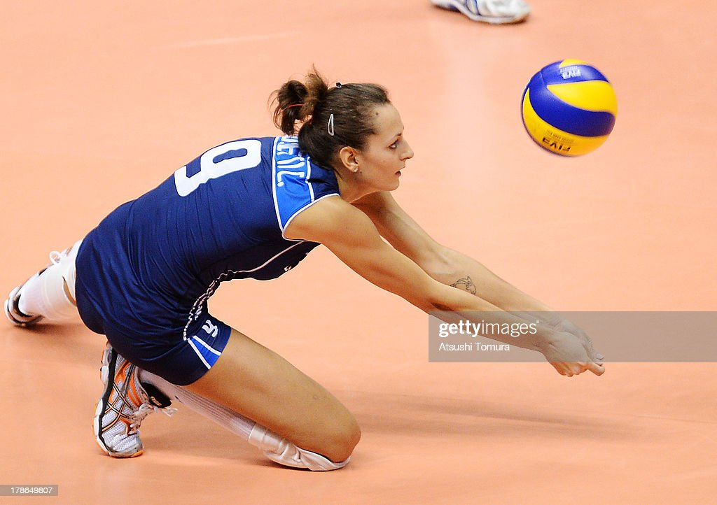 Caterina Bosetti of Italy in action during day three of the FIVB World Grand Prix Sapporo 2013 match between Brazil and Italy at Hokkaido Prefectural Sports Center on August 30, 2013 in Sapporo, Hokkaido, Japan.