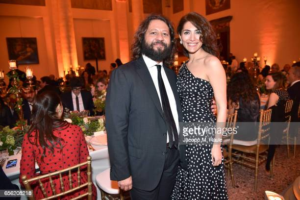 Caterina Murino and Guido Damiani attend a dinner for 'Damiani Un Secolo Di Eccellenza' at Palazzo Reale on March 21 2017 in Milan Italy