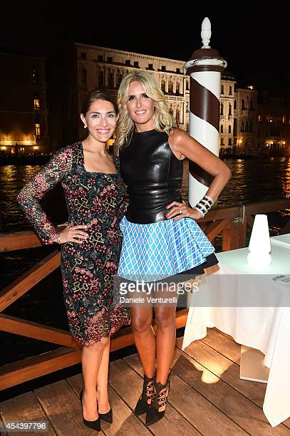 Caterina Murino and Tiziana Rocca attend Tiziana Rocca Birthday Party during the 71st Venice Film Festival at Centurion Palace Hotel on August 30...