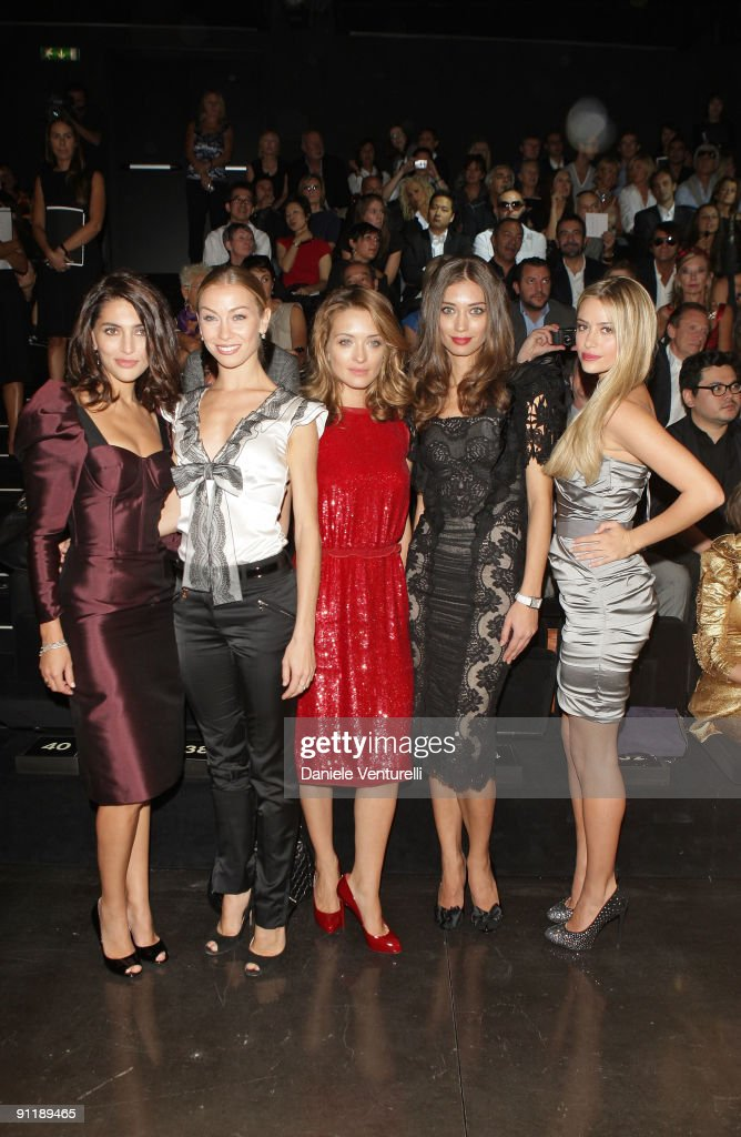 Caterina Murino, Eleonora Abbagnato, Carolina Crescentini, Margareth Made and Martina Stella attend the Dolce & Gabbana show as part of Milan Womenswear Fashion Week Spring/Summer 2010 on September 27, 2009 in Milan, Italy.