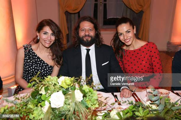 Caterina Murino Guido Damiani and Laura Barriales attend a dinner for 'Damiani Un Secolo Di Eccellenza' at Palazzo Reale on March 21 2017 in Milan...
