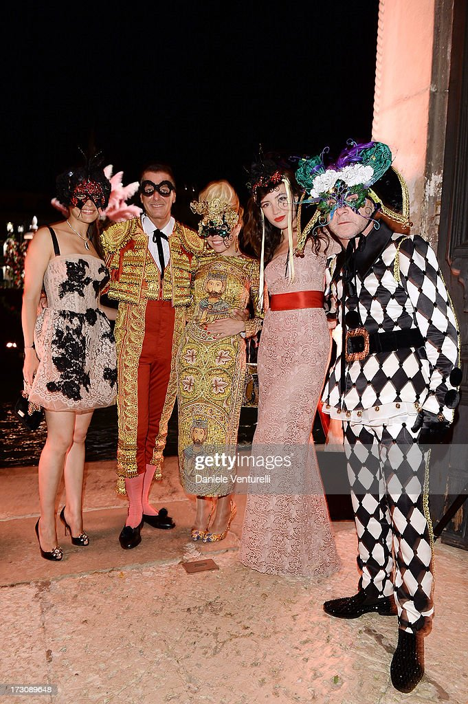 Caterina Murino, Stefano Gabbana, Paloma Faith, Daisy Lowe and Domenico Dolce attend the 'Ballo in Maschera' to Celebrate Dolce&Gabbana Alta Moda at Palazzo Pisani Moretta on July 6, 2013 in Venice, Italy.
