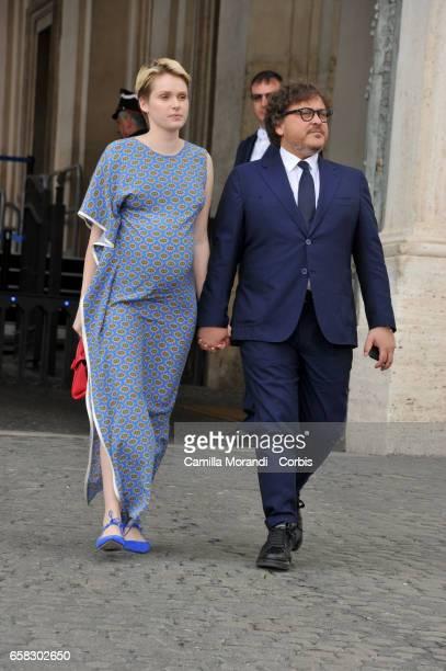 Caterina Shulha and Marco Berardi arrive at the 61 David Di Donatello nominees presentation at Palazzo del Quirinale on March 27 2017 in Rome Italy