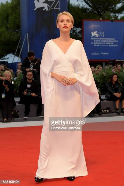 Caterina Shulha walks the red carpet ahead of the 'Ammore E Malavita' screening during the 74th Venice Film Festival at Sala Grande on September 6...